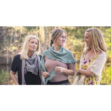 Nätkassar och 'Tre systrar' - en linsjal med tre olika avslut