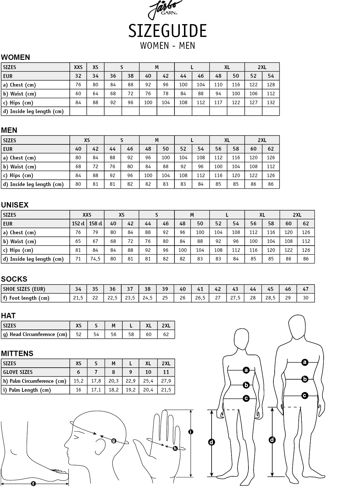 Size Guide Women Men